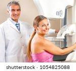 young woman undergoing... | Shutterstock . vector #1054825088