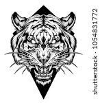 tiger head tattoo. dot work... | Shutterstock .eps vector #1054831772