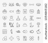pet vet line icons set. vector... | Shutterstock .eps vector #1054845182