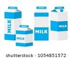 colored set of milk carton... | Shutterstock .eps vector #1054851572