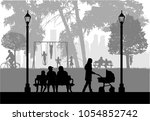 people silhouettes  urban... | Shutterstock .eps vector #1054852742