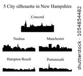 set of 5 city silhouette in new ... | Shutterstock .eps vector #1054854482