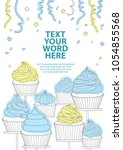 7 styles of cupcakes in gray... | Shutterstock .eps vector #1054855568