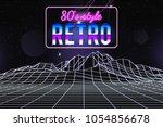 retro 1980s style glitch... | Shutterstock .eps vector #1054856678