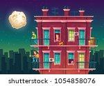vector residential multi storey ... | Shutterstock .eps vector #1054858076