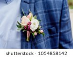groom in a jacket. the morning... | Shutterstock . vector #1054858142