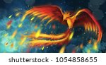 Flying Fire Phoenix With Sparks ...