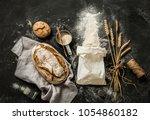rustic bread  flour sprinkled... | Shutterstock . vector #1054860182