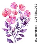 the spring flowers watercolor... | Shutterstock . vector #1054861082