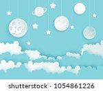 modern paper art clouds  moon ... | Shutterstock .eps vector #1054861226