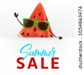 cute watermelon character with... | Shutterstock .eps vector #1054863476