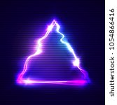 glitch art with neon triangle... | Shutterstock .eps vector #1054866416