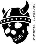 stylized black cracked skull in ... | Shutterstock .eps vector #1054866458