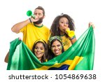 Stock photo brazil supporters brazilian group of fans celebrating on soccer football match on white 1054869638