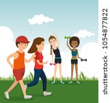 athletic people practicing... | Shutterstock .eps vector #1054877822