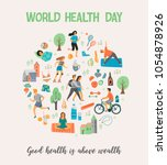 world health day. healthy... | Shutterstock .eps vector #1054878926