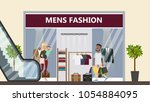 men's fashion at shopping mall. ... | Shutterstock .eps vector #1054884095