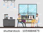 photostudio interior room with... | Shutterstock .eps vector #1054884875