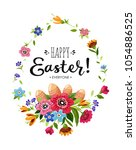 happy easter card with... | Shutterstock .eps vector #1054886525