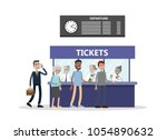bying tickets at terminal.... | Shutterstock .eps vector #1054890632