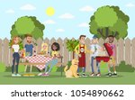 bbq party outdoors with friends ... | Shutterstock .eps vector #1054890662