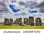 Stock photo standing megalith stones of ancient prehistoric monument stonehenge in wiltshire south west 1054897292