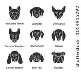 dogs breeds glyph icons set.... | Shutterstock .eps vector #1054915292