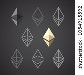 ethereum signs isolated on dark ... | Shutterstock .eps vector #1054915592