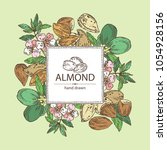 background with almond  almond... | Shutterstock .eps vector #1054928156