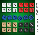 collection colored playing dice ... | Shutterstock .eps vector #1054928978