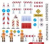 set of road barriers  road... | Shutterstock .eps vector #1054930502