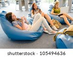 young student girls resting on... | Shutterstock . vector #105494636