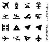 solid vector icon set   plane... | Shutterstock .eps vector #1054952318