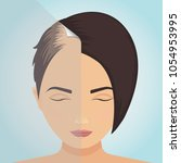 front view of a balding woman... | Shutterstock .eps vector #1054953995