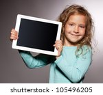happy child with tablet... | Shutterstock . vector #105496205