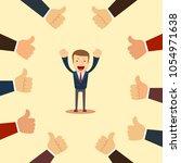 happy and proud businessman... | Shutterstock .eps vector #1054971638
