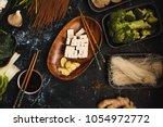 ingredients for asian ramen... | Shutterstock . vector #1054972772