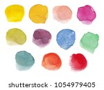 colorful watercolor round spots ... | Shutterstock . vector #1054979405