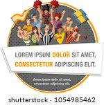 group of cartoon sport fans and ...   Shutterstock .eps vector #1054985462