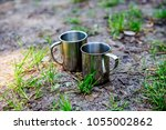 simple and elegant metallic cup ... | Shutterstock . vector #1055002862