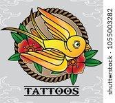 vector tattoo bird old skull ... | Shutterstock .eps vector #1055003282