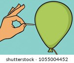 hand with a needle pierces the... | Shutterstock .eps vector #1055004452