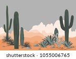 mexico pattern with opuntia ... | Shutterstock .eps vector #1055006765