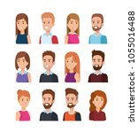 young people avatars characters | Shutterstock .eps vector #1055016488