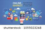 online market hand holding... | Shutterstock .eps vector #1055023268