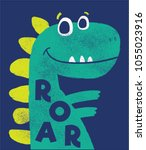 cute dinosaur vector drawn for... | Shutterstock .eps vector #1055023916