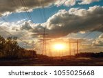 high voltage  power lines at... | Shutterstock . vector #1055025668