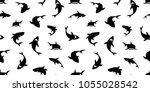 shark seamless pattern dolphin... | Shutterstock .eps vector #1055028542