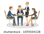 people at business meeting... | Shutterstock .eps vector #1055034128