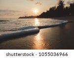 soft wave on sandy beach in... | Shutterstock . vector #1055036966